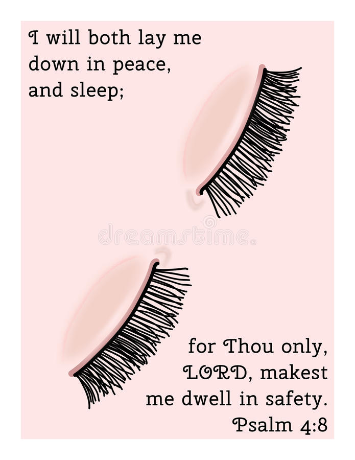 Eyes, Peaceful Sleep. A Christian image featuring a pair of eyes in peaceful sleep representing Psalm 4:8... I will both lay me down in peace, and sleep; for stock illustration