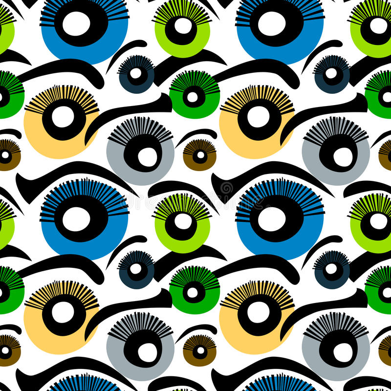 Eyes Seamless Background. Eyes and eyebrows background. Seamless Tile stock illustration