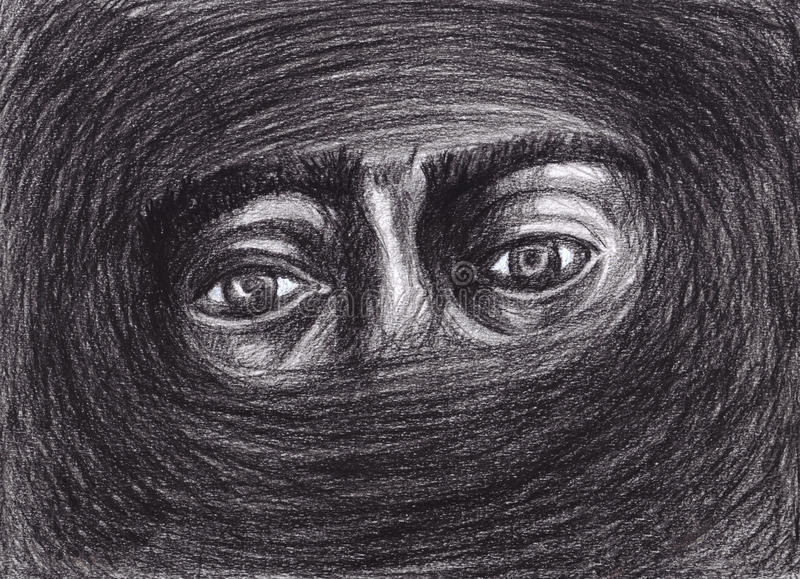 Eyes surrounded by darkness remembers light royalty free illustration