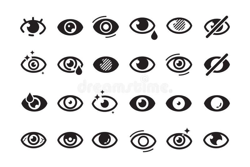 Eyes symbols. Closed opening eye human parts optical medical healthcare insomnia cataract good looking vision vector. Icons. Eye sight, look human, see and stock illustration