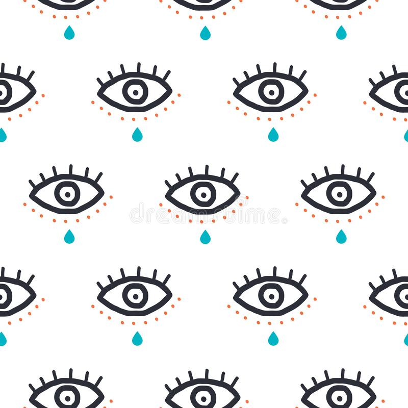 Eyes with tear drop in hipster style hipster pop art seamless pattern. Vector youth texture background for print. vector illustration