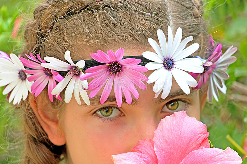 Eyes of a teen girl stock images