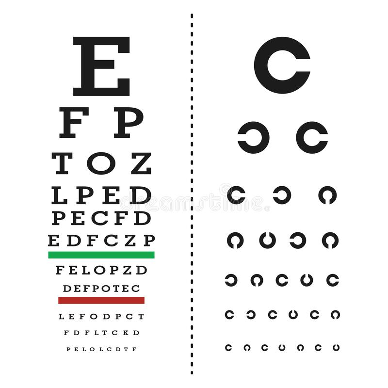 Eyes test chart with latin letters royalty free illustration