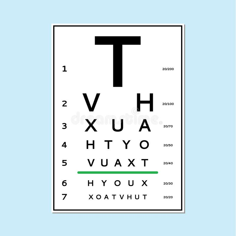 Eyes test chart. Tests the adult and children`s options isolated on white background. Vision test board optometrist royalty free illustration