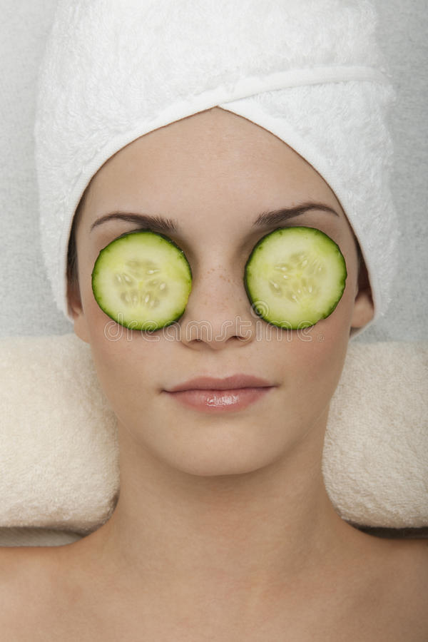 Eyes Treatment with Cucumber stock photo