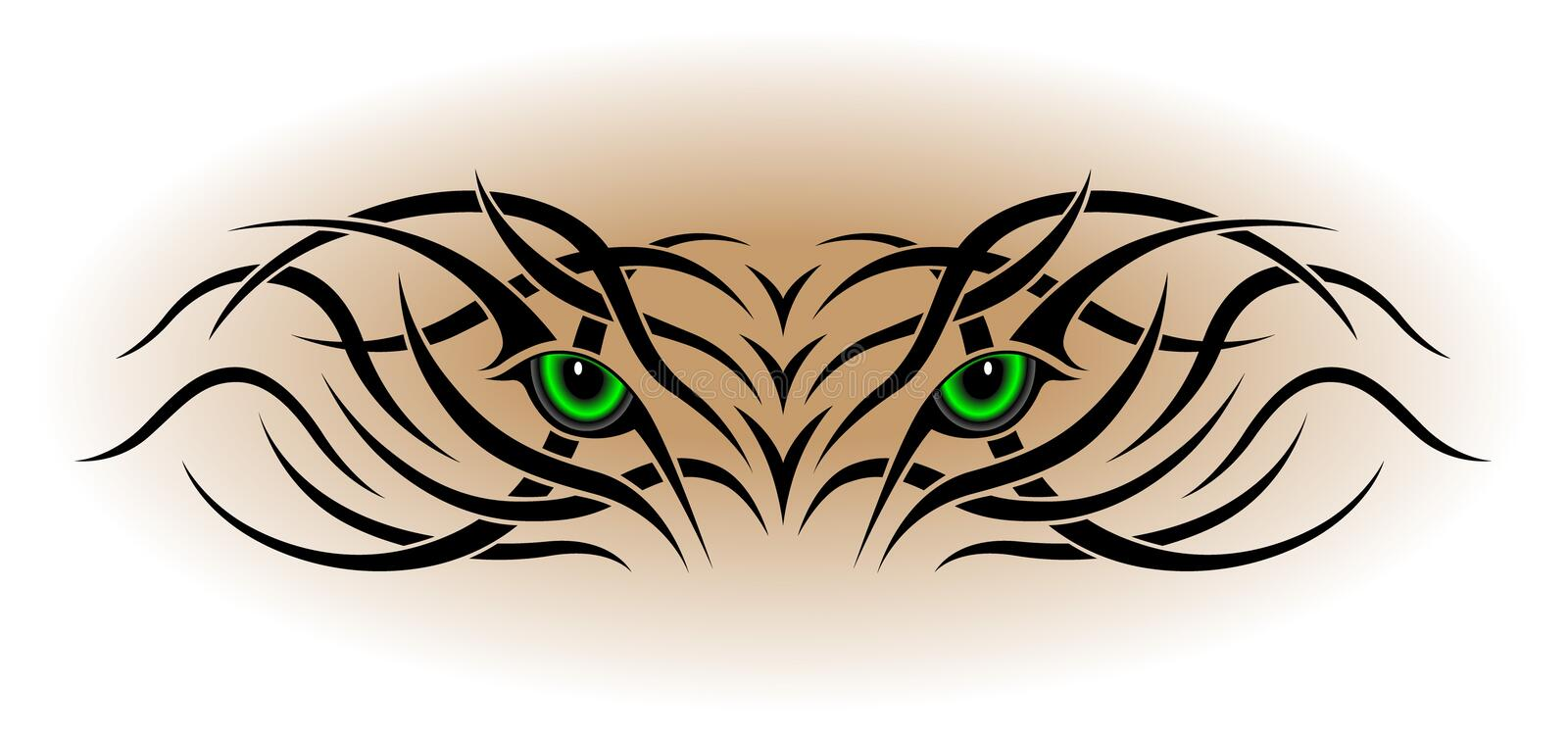Eyes, tribal tattoo stock images