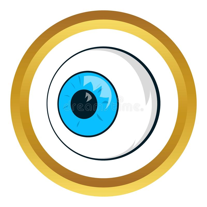 Eyes vector icon. In golden circle, cartoon style isolated on white background vector illustration