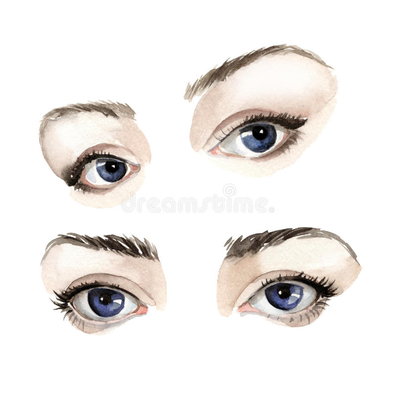 Eyes. On a white background watercolor painted one above the other two pairs of blue eyes with dark eyebrows vector illustration
