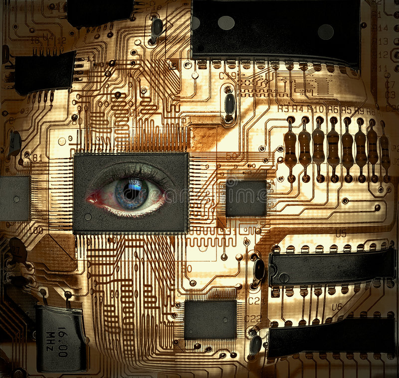 EyeSee. Circuit board with human eye integrated circuit