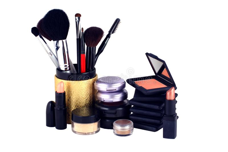 Eyeshadow and blush makeup display royalty free stock photography