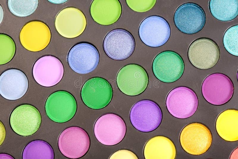 Eyeshadow. Decorative colorful eyeshadow set , close up shot royalty free stock photography