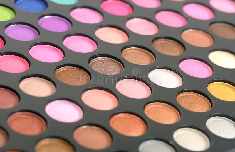 Eyeshadow. Decorative colorful eyeshadow set , close up shot stock photography