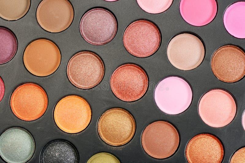 Eyeshadow. Decorative colorful eyeshadow set , close up shot stock photo