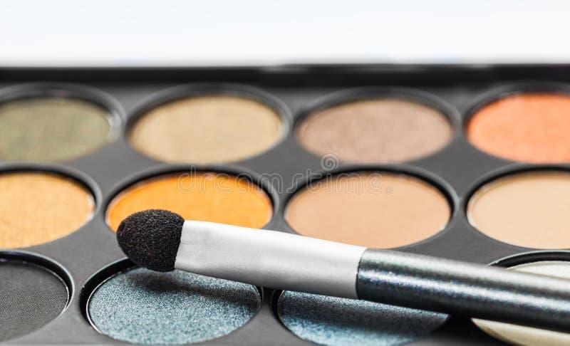 Eyeshadow Palette and brush. Set of decorative cosmetics, Eyeshadow Palette and brush stock photo