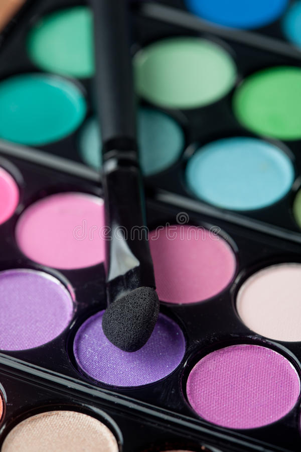 Eyeshadow Pallet And Brush Stock Photo