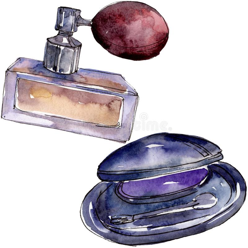 Eyeshadow and perfume sketch glamour illustration in a watercolor style isolated element. Watercolour background set. Eyeshadow and perfume sketch glamour royalty free stock photo
