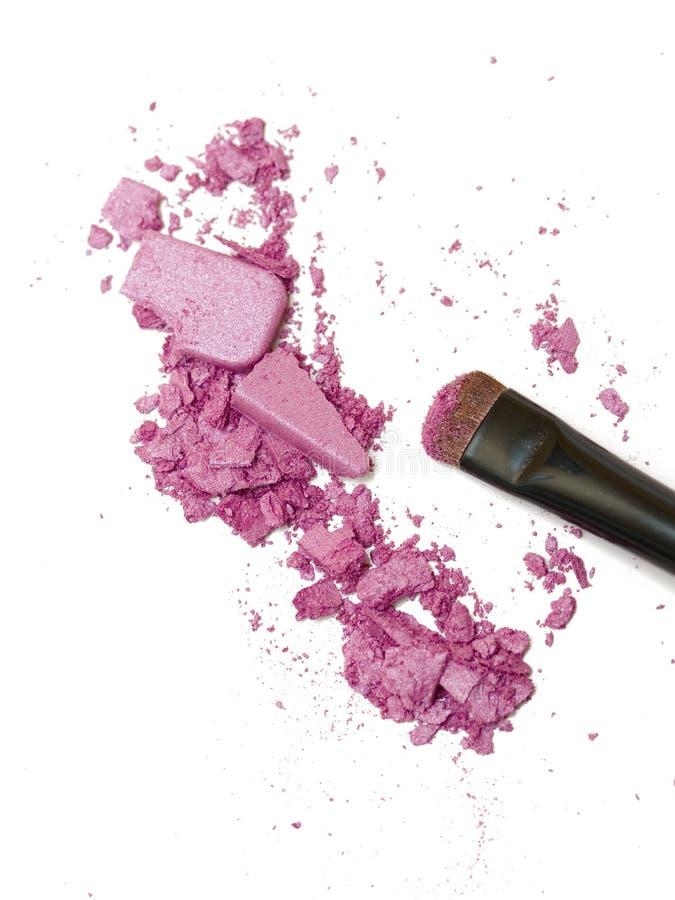 Eyeshadow powder and brush royalty free stock photos