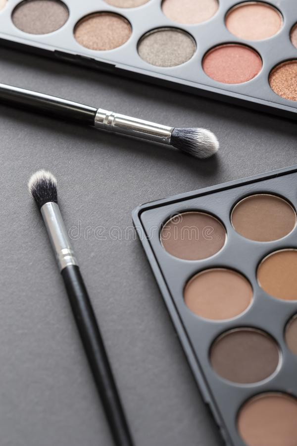 Eyeshadow powieka i palety uzupełniają muśnięcia fotografia stock