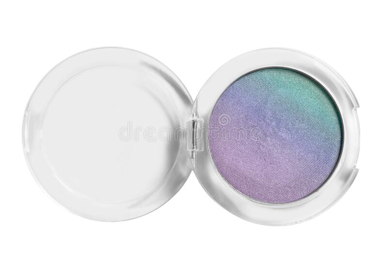 Eyeshadows box isolated. Bicolor purple and blue shimmer eyeshadows isolated over white stock photo