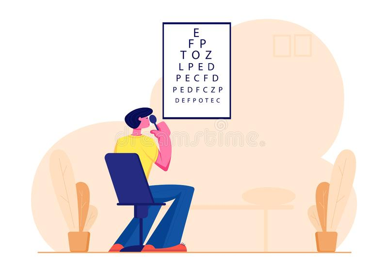 Eyesight Check Up Procedure in Clinic. Man Looking at Test Chart for Vision Checkup. Patient in Oculist Office Optician. Eyesight Check Up Procedure in Clinic royalty free illustration
