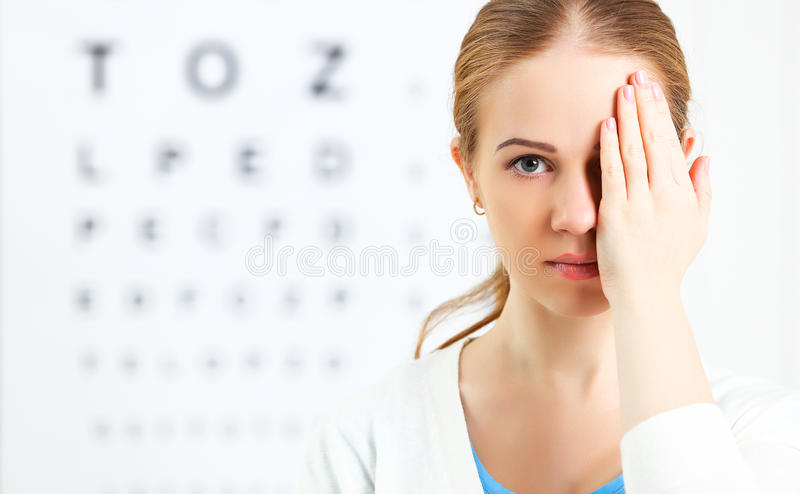 Eyesight check. woman at doctor ophthalmologist optician stock photo