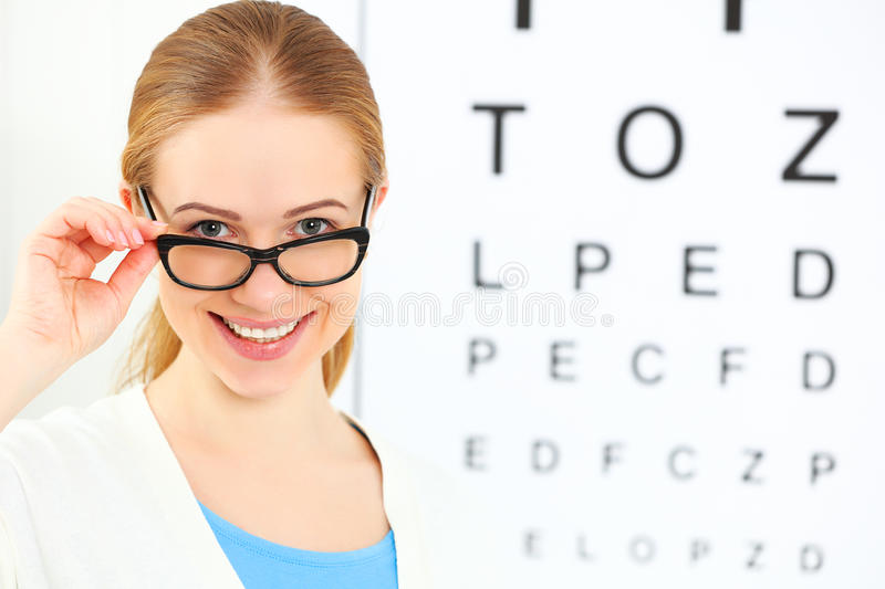 Eyesight check. woman in glasses at doctor ophthalmologist optic stock images