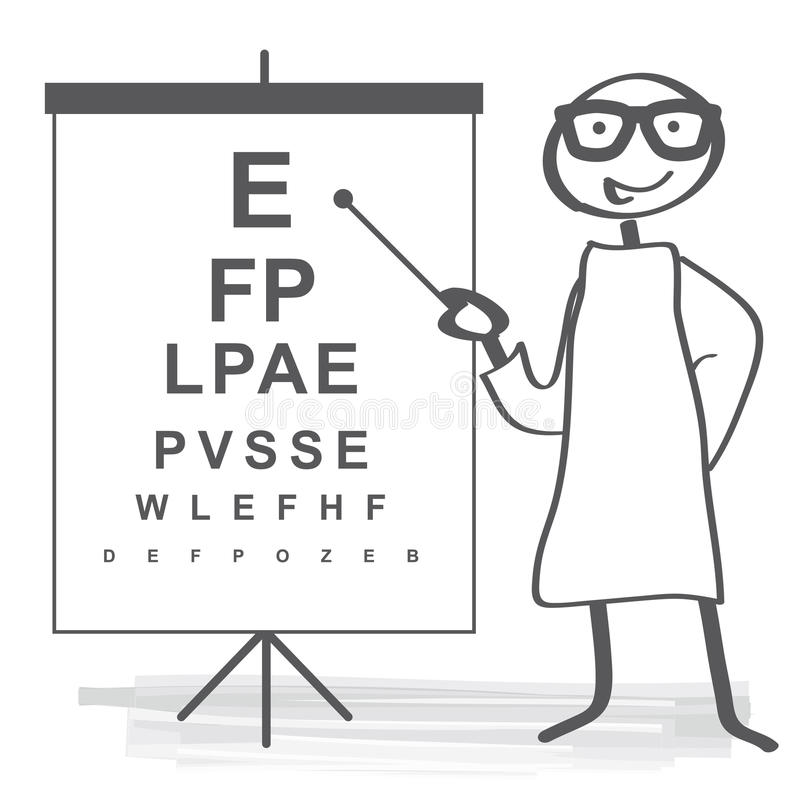Eyesight test. Standard ophthalmic exam - eye doctor stock illustration