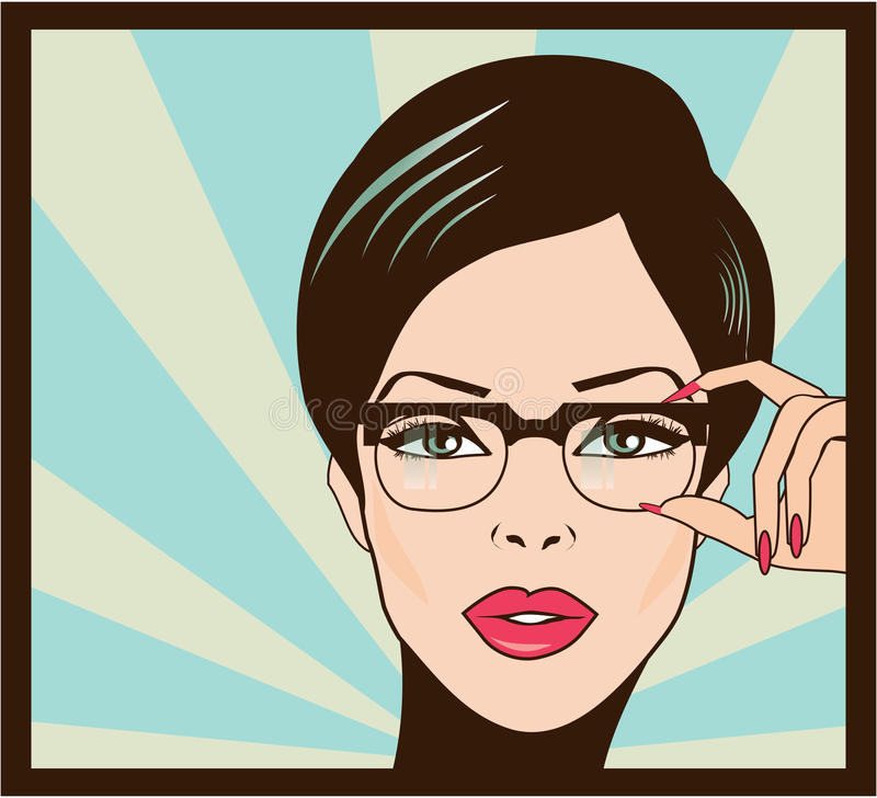 Eyewear玻璃妇女特写镜头纵向 妇女佩带的玻璃 皇族释放例证