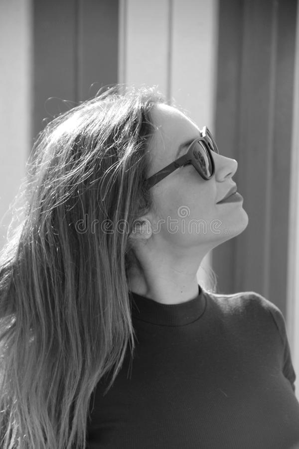 Eyewear, Photograph, Black And White, Human Hair Color stock images