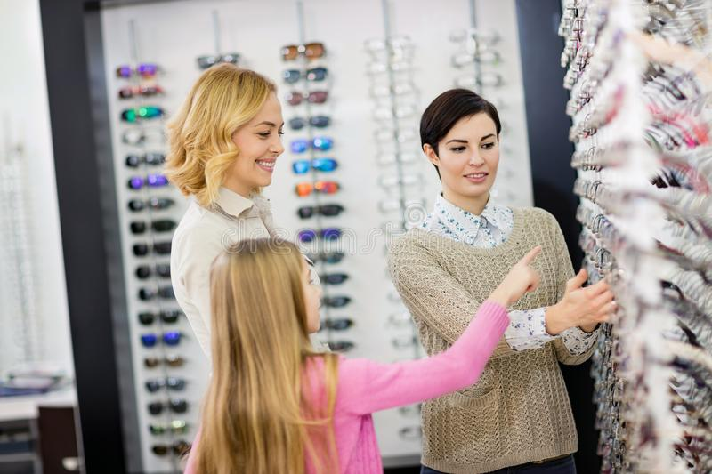 Eyewear shop has large selection of different frames for glasses stock image