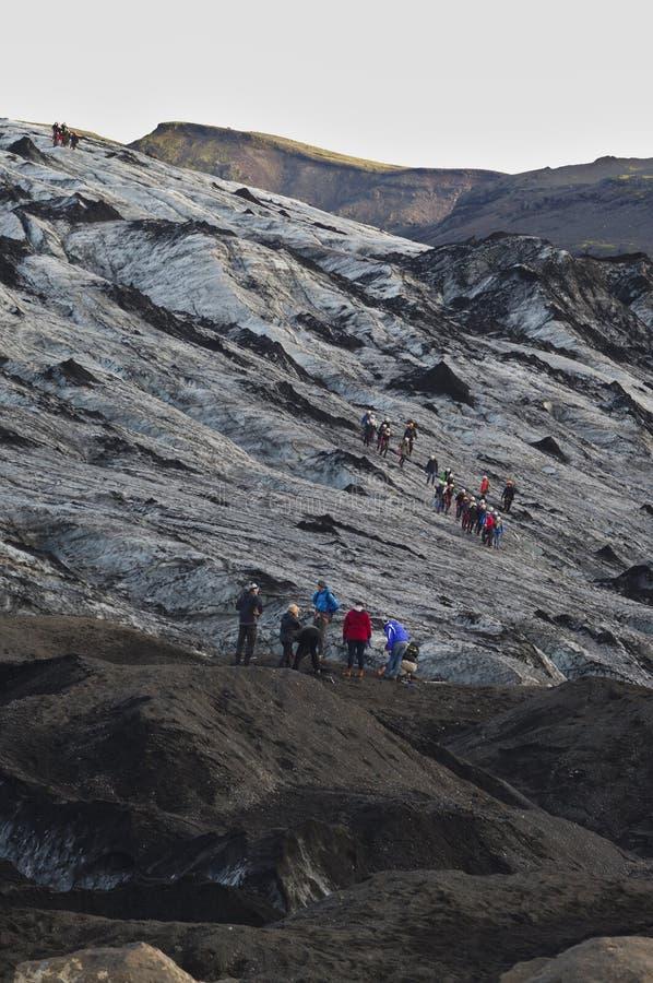 Eyjafjalla jokull Ijs met as, IJsland wordt behandeld dat stock foto's