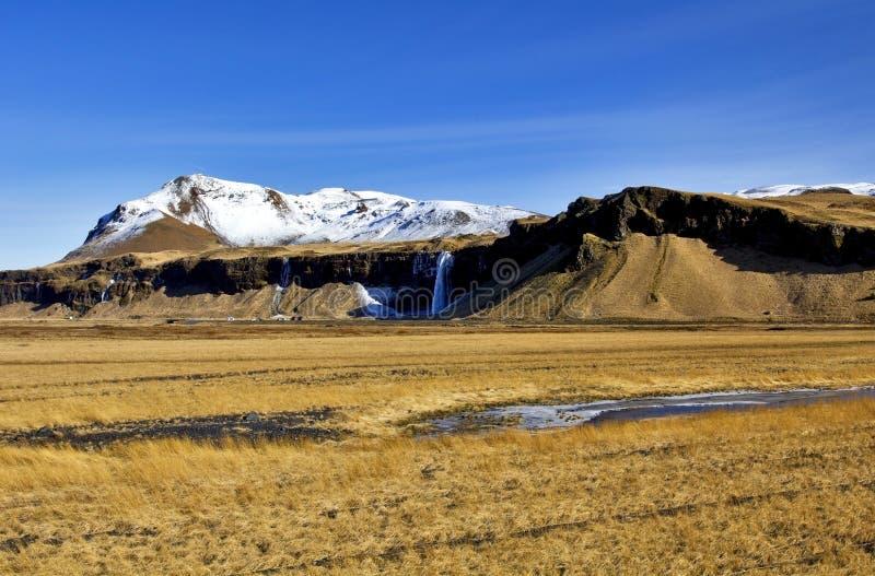 Eyjafjallajokull, van Storhofoi en Seljalandsfoss-Waterval, IJsland stock afbeeldingen