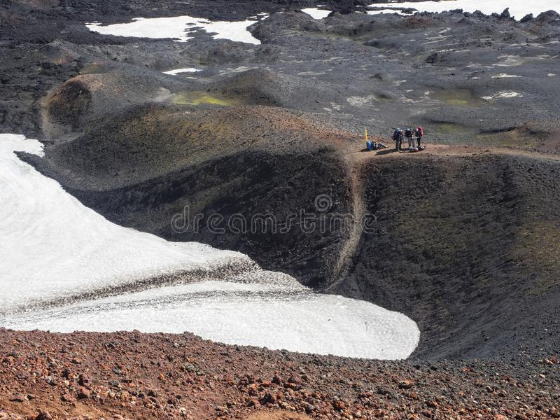Eyjafjallajokull-Vulkankrater, gefüllt mit Schnee stockbild