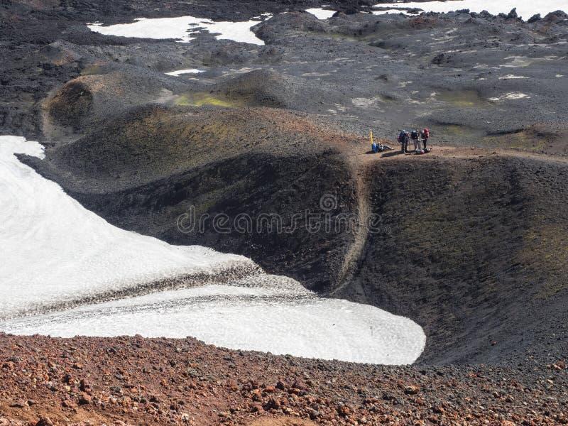 Eyjafjallajokull vulkankrater som fylls med snö fotografering för bildbyråer