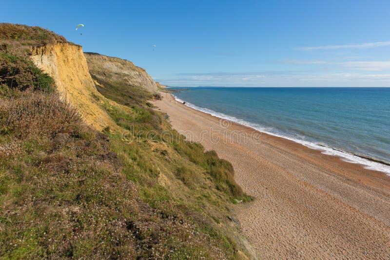 Eype多西特英国英国侏罗纪海岸在Bridport南部和在西湾附近 免版税库存图片