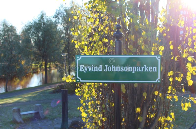 Eyvind Johnson Park in Boden stock photos