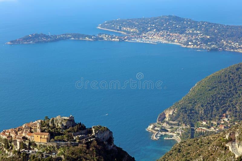 Eze village French riviera, Côte d`Azur, mediterranean coast, Eze, Saint-Tropez, Cannes and Monaco. Blue water and luxury yachts. stock photos