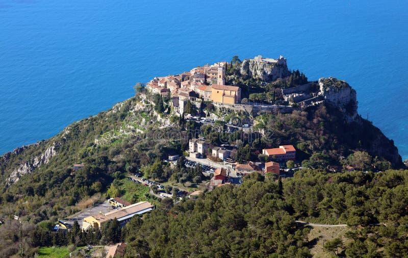 Eze village French riviera, Côte d`Azur, mediterranean coast, Eze, Saint-Tropez, Cannes and Monaco. Blue water and luxury yachts. royalty free stock photos