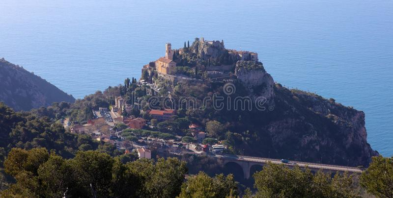 Eze village French riviera, Côte d`Azur, mediterranean coast, Eze, Saint-Tropez, Cannes and Monaco. Blue water and luxury yachts. French riviera, Côte d` royalty free stock photos