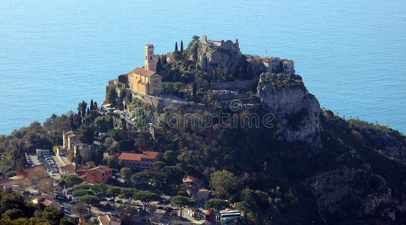 Eze village French riviera, Côte d`Azur, mediterranean coast, Eze, Saint-Tropez, Cannes and Monaco. Blue water and luxury yachts. French riviera, Côte d` stock image