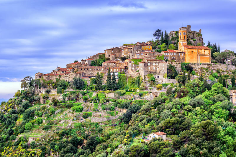 Eze village on hill top, French Riviera, Provence, France. Eze hilltop village is a famous resort and tourist destination on French Riviera by Nice, Provence royalty free stock image