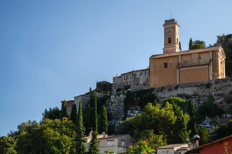 Eze village mountain landscape with Church royalty free stock photo