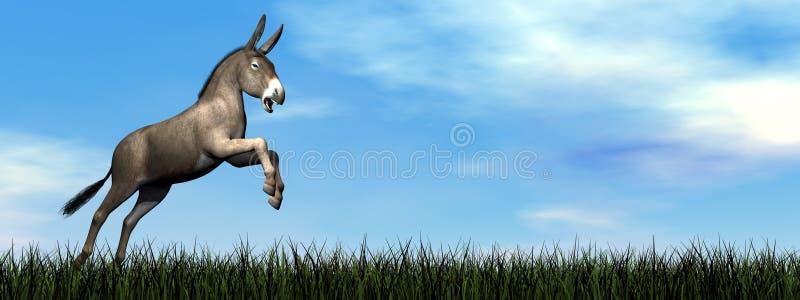 Ezel die 3D springen - geef terug vector illustratie