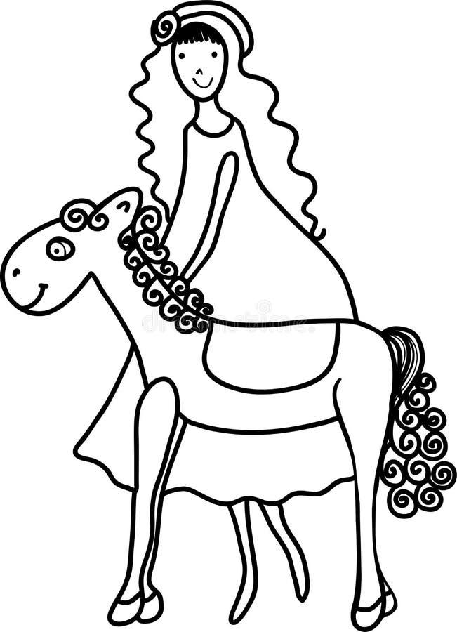 Ezel en meisje Beeldverhaalillustratie van kind en dier royalty-vrije illustratie