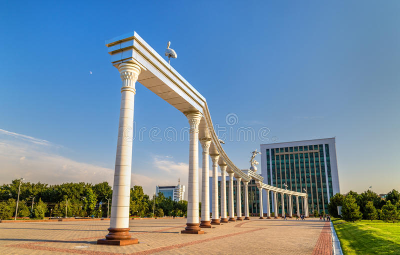 Ezgulik Arch on Independence Square in Tashkent, Uzbekistan. Ezgulik Arch on Independence Square in Tashkent, the capital of Uzbekistan stock photo