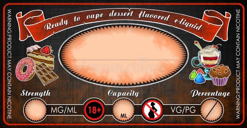 Ezigaretteneflüssigkeitssaftflaschenphiolen-Aufkleberschablone Vape Nachtisch gewürzte stockfotos