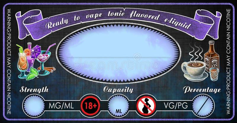 Ezigaretteneflüssigkeitssaftflaschenphiolen-Aufkleberschablone Vape Stärkungsmittel gewürzte stockfoto
