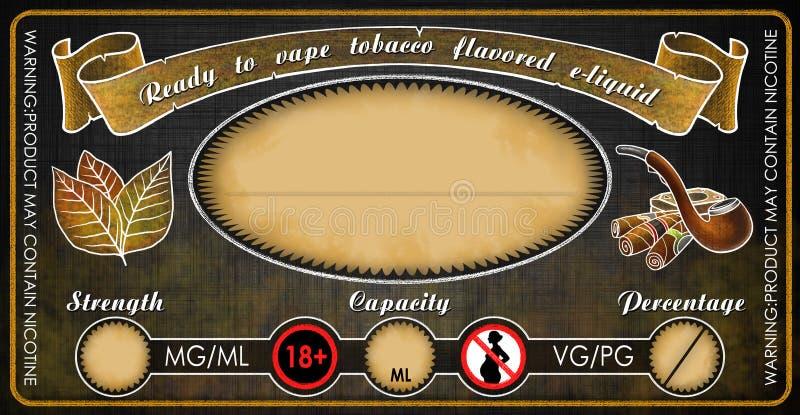 Ezigaretteneflüssigkeitssaftflaschenphiolen-Aufkleberschablone Vape Tabak gewürzte stockfotografie