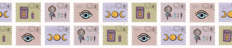 Ezoteryczni Magiczni znaczki pocztowi Ręka Rysująca Bezszwowa wektor granica Duchowi symbole ilustracja wektor