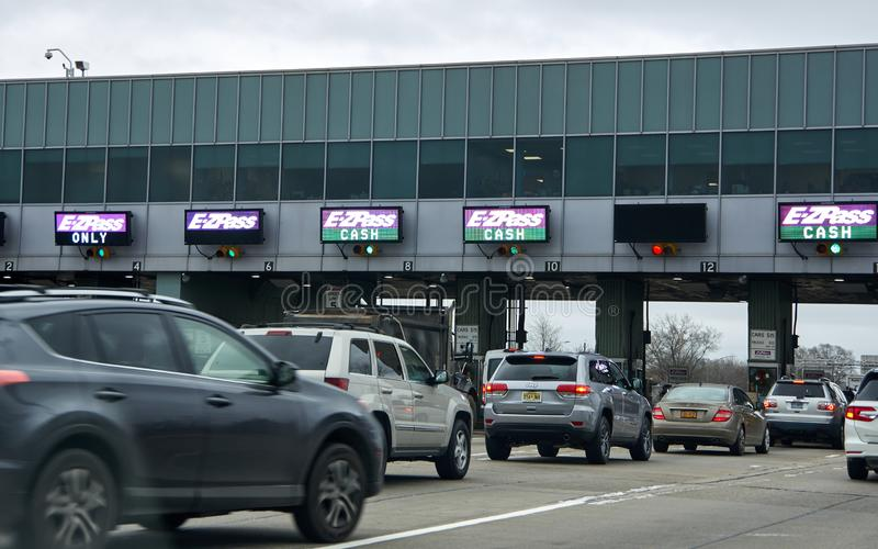 EZPass signs and terminal. NEW YORK, USA - DECEMBER 14, 2018: EZPass signs and terminal. E ZPass is electronic toll collection system used on tolled roads royalty free stock image